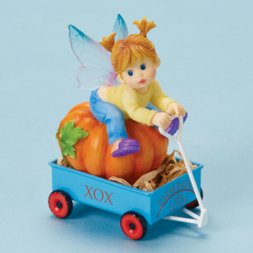 Girl Riding Cart w/Pumpkins Fairy