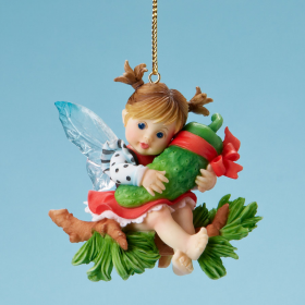 Girl Holding Pickle Ornament